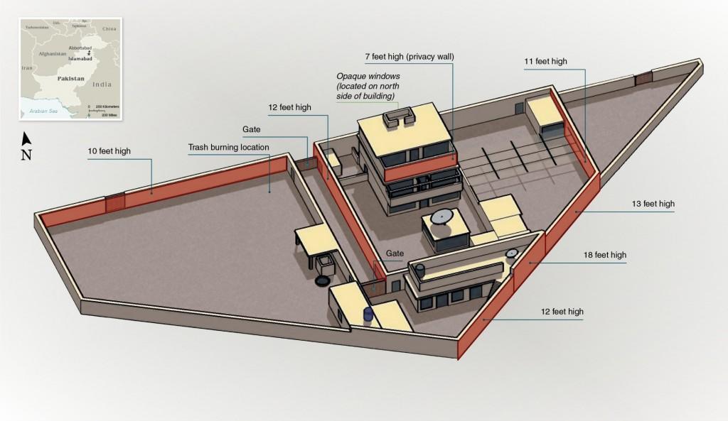 Plán domu Usáma bin Ládin v Abbottábádu Pákistán. V tomto domě byl údajmě UbL zabit.